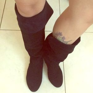 Nine West black suede over the knee boots